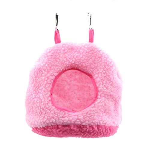 LPOQW Jaula pequeña para mascotas colgante de animales pequeños en casa, hámsteres, cama de algodón, nido para dormir para hámster, conejo, ratón, ardilla, color rosa M