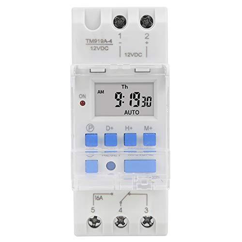 frenma Control de Temporizador, Interruptor de Temporizador, Interruptor de Temporizador programable Estable, práctico y Duradero de 12 V CC 16 A para Uso doméstico -10-50 ℃