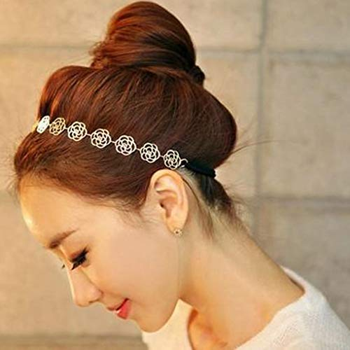 Tgirls Vintage Flower Headbands Elastic Hair Bands Rose Dainty Hair Accessories for Women and Girls (Silver)
