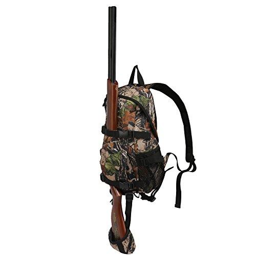 Mochila de caza Tourbon pequeña con soporte para rifle–Color verde, color camuflaje, tamaño 24*14*42cm