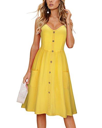 KILIG Women's Summer Sundress Spaghetti Strap Button Down Dress with Pockets(B3-Yellow,XX-Large)