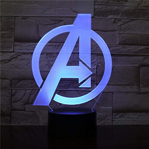 Only 1 Piece Superhero A Sign The Superhero Game Movie 3D Table Lamp Captain Superhero 7 Colors Changing Night Light USB Decorative Kids Toys s