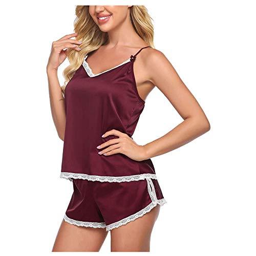 Pangconk Pyjamas für Frauen Lace Camisole Nachtwäsche Sexy Casual Kurzarm...