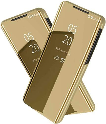 TiHen Spiegel Schutzhülle für LG V30 Hülle, Smart-Fenstertasche Überzug Spiegel Flip Cover +Panzerglas Schutzfolie 2 Stück,Handyhülle Lederhülle Etui mit Standfunktion -Gold