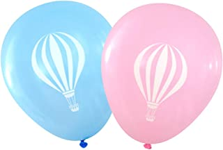 Gender Reveal Hot Air Balloon Design Latex Balloons, 16 Count (Pink & Blue)
