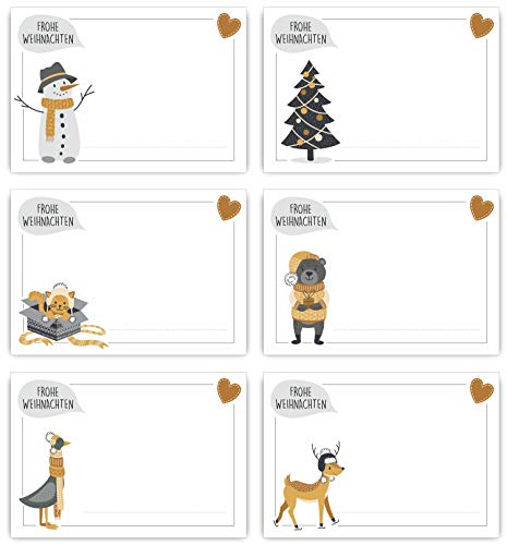 ArtUp.de 24 Stück Aufkleber Weihnachten Geschenkaufkleber selbstklebend zum Beschreiben - 6 weihnachtliche Motive gold - Sticker ca. 7 x 5 cm für Geschenke und Adventskalender selber basteln