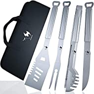 Kona BBQ Grill Tools Set with Case - 18 inches Long to Keep Hands Away from Heat, Premium Stainless Steel Grilling Utensils with Bottle Opener Handles - Makes A Great Gift