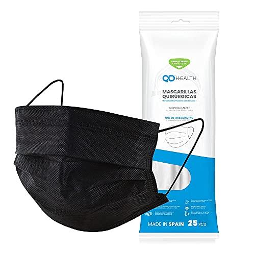 QD HEALTH 50 Mascarillas quirúrgicas Fabricadas en España - Color negro - Tipo IIR - No reutilizables - Desechables (50)