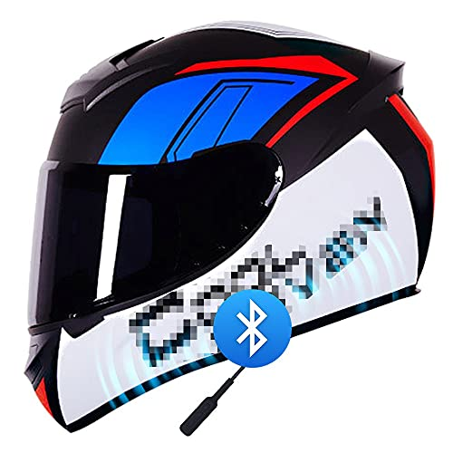 RMBDD Casco de Motocicleta de Completa con Bluetooth Dot/ECE Casco de Choque Anticolisión Lente Transparente/Negra Adulto para Todas Las Estaciones Universal Unisex (55~64CM)