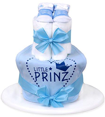 Trend Mama Windeltorte hellblau Junge Babysocken Sneaker Style + bedrucktes Lätzchen - Little Prinz.