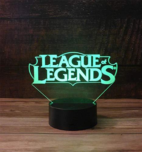 League of Legends 3D lámpara visual adolescente niña regalos 16 colores luz de aire caliente globo noche luz para cumpleaños vacaciones decoración regalo