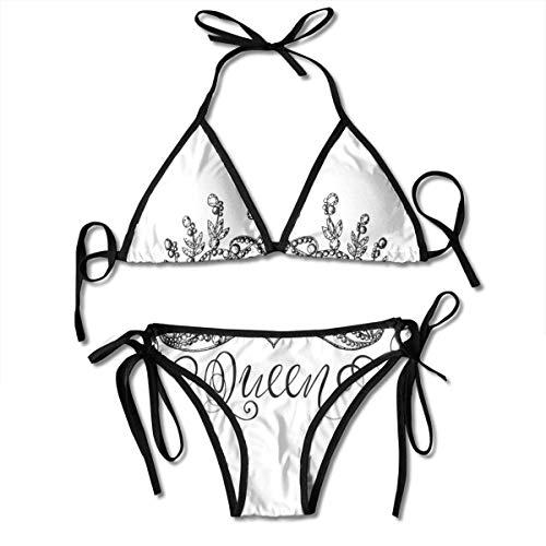 Neckholder Swimwear Plunge Bikini Quean handgezeichnete Krone mit Quean Schriftzug Barockstil Ancient Elemants Kalligraphie und weißer Badeanzug