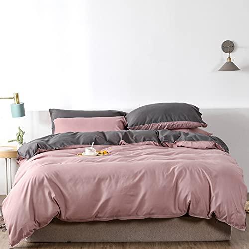 Boqingzhu Bettwäsche 200x220cm Rosa Grau Pink Anthrazit Uni Wende Bettwäsche Set Microfaser Bettbezug mit Reißverschluss und 2 Kissenbezüge 80x80cm