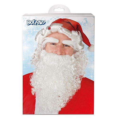 Boland 13415 – Ensemble Père Noël avec Bonnet Rouge, Perruque Blanche, Sourcils Blancs, Longue Barbe, Père Noël, Cadeau Promo, Noël, Carnaval, fête à thème, décoration de fête