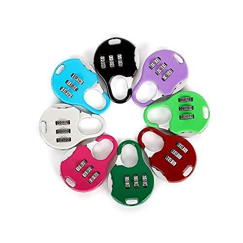 Aibada Mini Candado de 3 dígitos, combinación reajustable para equipaje de viaje, código de bloqueo de maleta, color aleatorio, paquete de 6