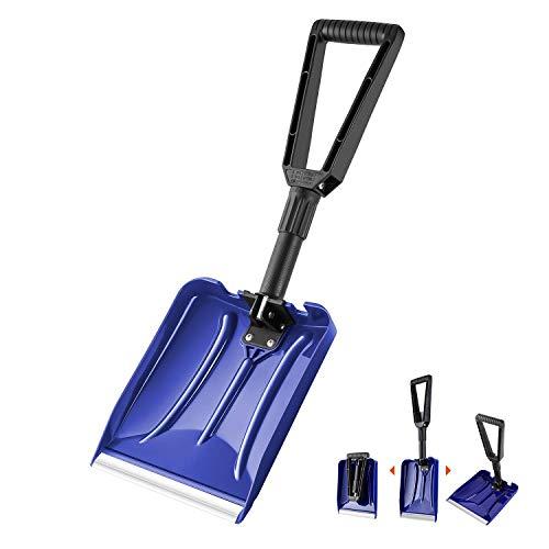 Orientools Pala de nieve plástica plegable para trabajo pesado con mango D-Grip, arado liviano de uso general para automóvil (color azul, hoja de borde de aluminio: 9'x 11 '')