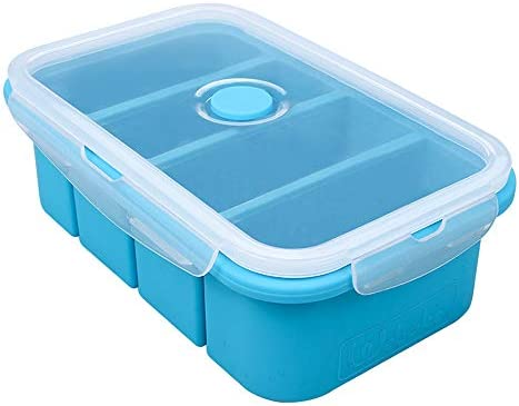 Webake Silicone Freezer Tray with Lid Food Storage Container Ice Cube Tray for Soup Sauce Meal product image