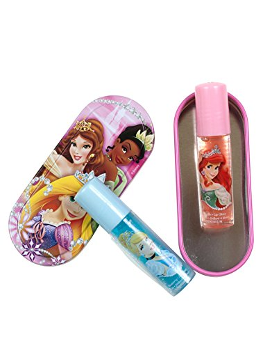 Disney Princess Lip Gloss with Tin, Tiana, Belle, and Aurora, 1-pack (2 Lip Glosses in total)