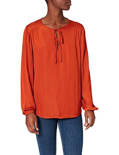 Springfield Blusa Fluida Hombros Nido Abeja Camisa, Tostado, 36 para Mujer