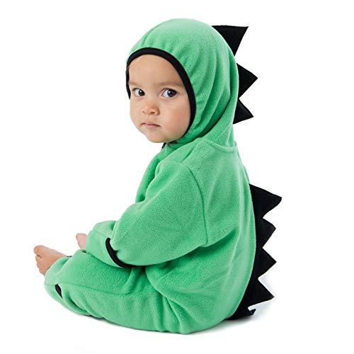 Funzies Baby Bunting Fleece Hooded Romper Bodysuit (DinoGreen/Black3-6m)