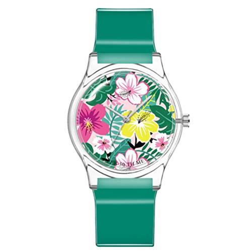 ULTECHNOVO Kinderuhr wasserdichte Uhr Cute Floral Armbanduhr Japanische Bewegung Armbanduhr Mädchen Plastikuhr (Pfauengrün)