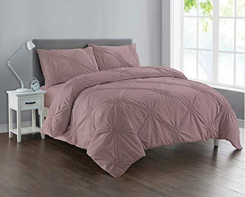 Divine Textiles Pintuck Sunflower Style Fancy Duvet Cover Set With Pillow Cases 10 Colours, Mauve - King