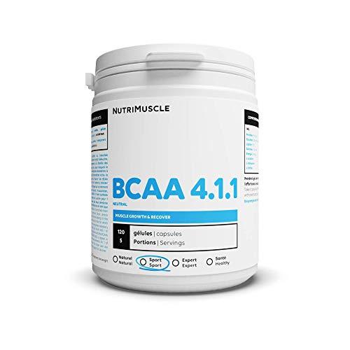 BCAA 4.1.1 Constructeurs | Sans OGM • Surdosé en Leucine • Complement alimentaire pour Sportif • Musculation Homme et Femme | Nutrimuscle | 120 Gélules