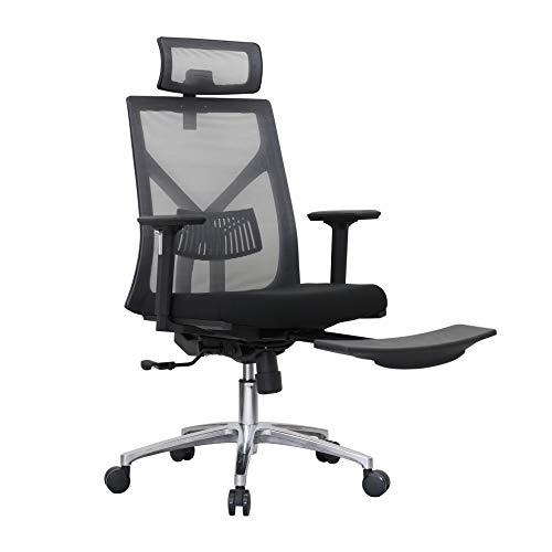 FIXKIT Bürostuhl mit Fußstütze, 360°Drehen mit Einstellbarer Kopfstütze Armlehnen, Höhenverstellung und Wippfunktion bis zu 150kg für Soho- oder Büroarbeit