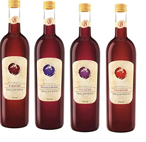 4er Set Bayerwald Fruchtweine a 0,75l Erdbeerwein/Pflaumenwein/Heidelbeerwein/Kirschwein Alkoholgehalt 9% Vol.