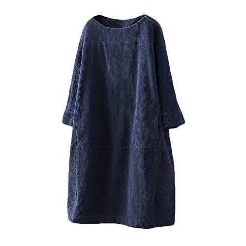 Vestido de Falda Midi Suelto de Pana de Bolsillo de Color sólido cálido de Ocio de Primavera, otoño e Invierno de Talla Grande para Mujer