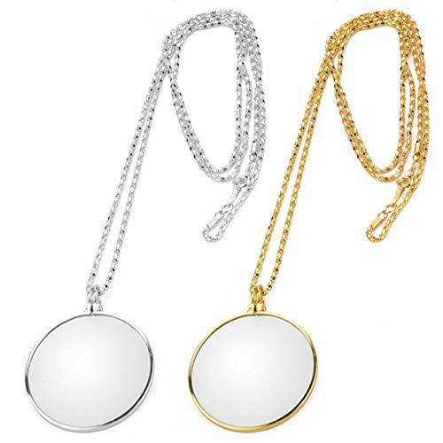 2 Stück Halskette Lupe, Leselupen Anhänger, 5X Lupe Objektiv, für die älteren Lesung, Erhöhen die Vision, Leicht zu Tragen Geeignet als Geschenk(Silber, goldfarben)