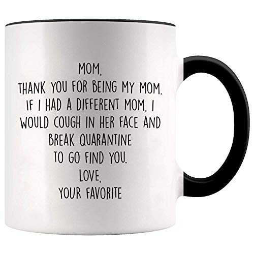 YouNique Designs Mom Mug, 11 Ounces, Mothers Day Gifts from Daughter or Son Mug, Mom Coffee Mug 1733 (Black Handle)