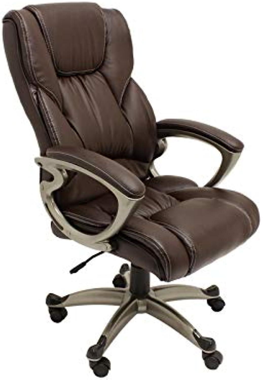 ALEKO ALC6121CF High Back Office Chair Ergonomic Computer Desk Chair Brown PU Leather