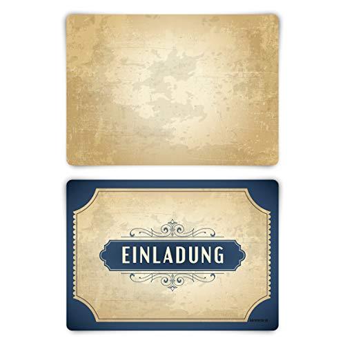 Uitnodigingskaarten, verjaardag, vormsel, doop, communie, elke gelegenheid, 12 stuks, kaartenset, vintage (niet beschikbaar in het Nederlands) Vintage blauw blanco achterkant