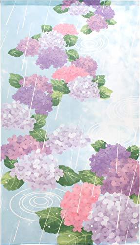 のれん 作家 山中奈緒子 市松レース プリント 半間のれん 夏 四季 花 幅85×丈150cm 紫陽花と雨 11358