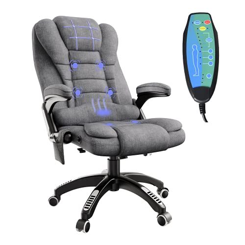 Massage Office Chair with Heat, Gaming Chair Linen Fabric High Back Executive Chair with Headrest Padded Armrest, Adjustable Reclining Swivel Computer Chair Ergonomic for Lumbar Support, Grey