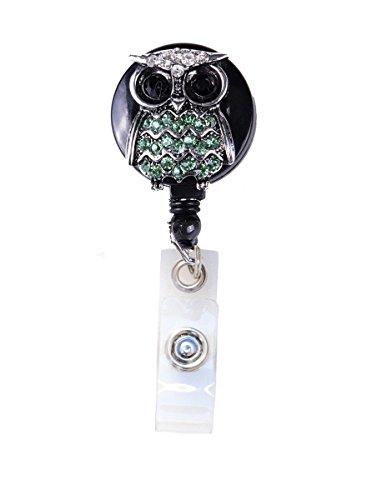 3D Bling Crystal Owl Badge Reel Retractable ID Badge Holder (B - Green)
