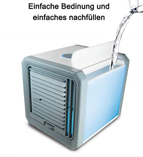HOUSE DAY Condizionatori Mobili Mini Aria Condizionata Umidificazione Aria Condizionata Ventilatore Portatile USB Con 3 Livelli / 7 illuminazione D'atmosfera/Serbatoio Da 500 ml