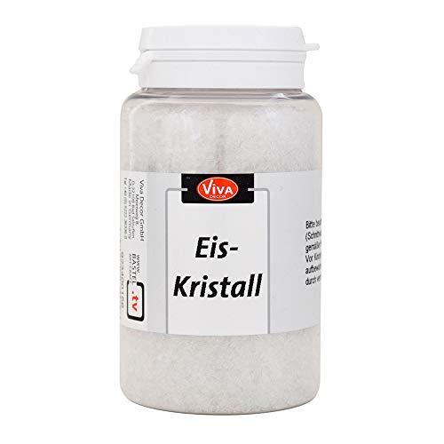 Viva Decor® Eiskristall (Weiß-Transparent, 200 g) Eiskristalle Deko, Glitzer-Granulat für Schnee & Frosteffekte - Glitter zum Basteln - Frosteffekt Farbe Glas - Made in Germany