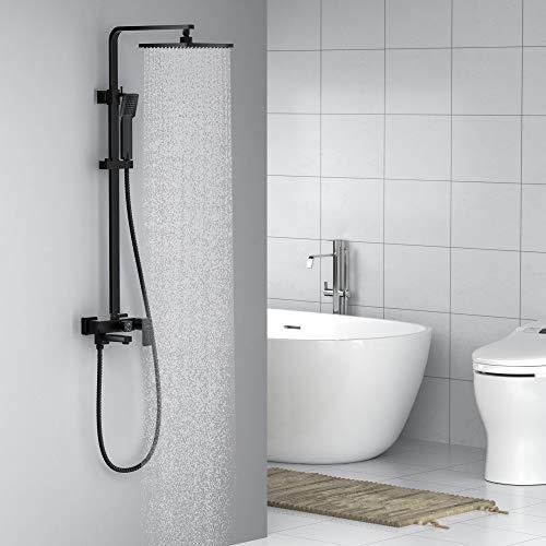 Auralum 3-Funktion Schwarz Duschsystem Regendusche mit Wasserhahn Duscharmatur -Duschkopf Dusche Duschset Brause Garnitur Duschkopf Handbrause Duschstange fürs Bad/Badewannen