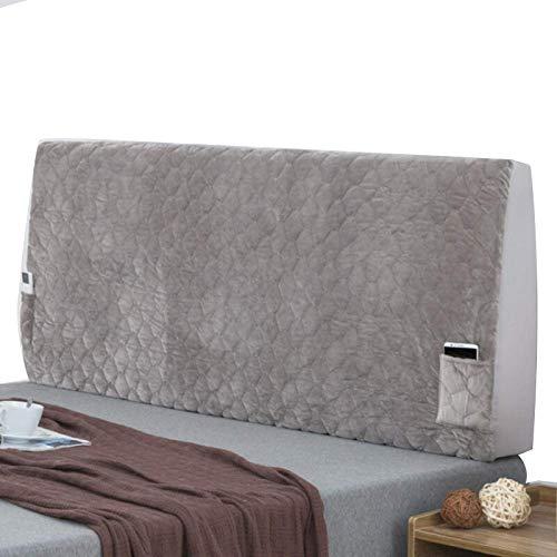 KOMOSO Funda elástica para cabecero de cama de cristal todo incluido, funda de madera y cuero gris, 220 x 64 cm