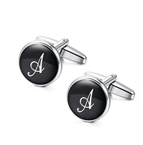 Jstyle Initial Cufflinks for Men Alphabet Letter Cufflinks Black Shirt Business Wedding A