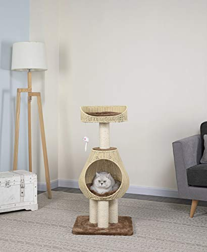 GO PET CLUB HAND CRAFT PE RATTAN WICKER CAT TREE REVIEW