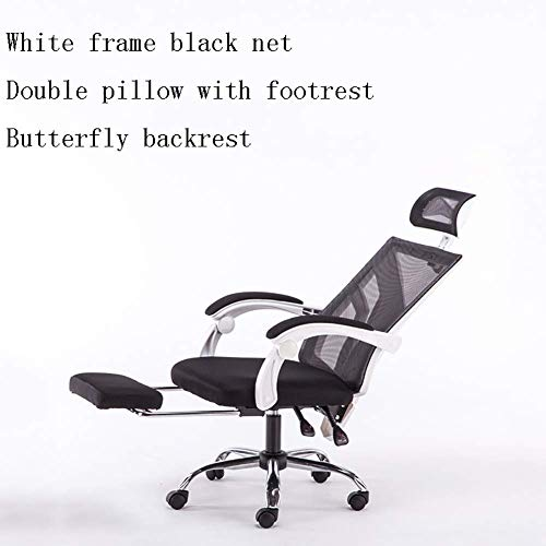 ZXL Muebles Silla de Oficina Ergonómica Giratoria de Malla Negra con Silla de Escritorio, con Respaldo Medio, B,C