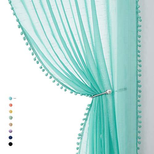 "Treatmentex Pompom Sheer Curtain Panels 84inch Long Living Room Bedroom Window Curtain Drapes for School, Kindergarten 52"" Width Each Panel. 1 Pair Rod Pocket"