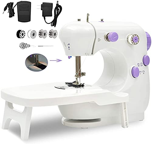 Sewing Machine , Portable Household Lightweight Mini Sewing Machine for Beginners , Adjustable Double Threads Machine Sewing with Extension Table , Sewing Kit for Household ,Travel (PURPLE)