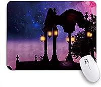 VAMIX マウスパッド 個性的 おしゃれ 柔軟 かわいい ゴム製裏面 ゲーミングマウスパッド PC ノートパソコン オフィス用 デスクマット 滑り止め 耐久性が良い おもしろいパターン (ロマンチックなパビリオン展望台とレトロなランプが輝く空の雲)