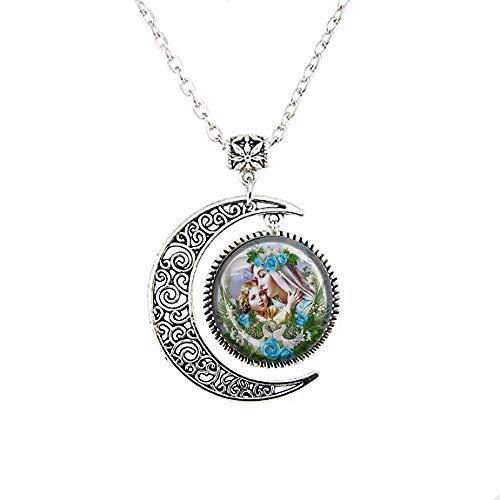 Collar de medalla religiosa de la Virgen Madre María y el Bebé Jesús católico, colgante de cristal, joyería vintage