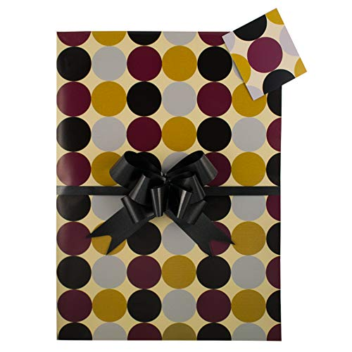 Mens Circles Striking Gift Wrap Pack, Two Sheets, Two Matching Tags and Two Co-ordinating Black Pull Bows. Perfect for Gift, Present 18th 21st