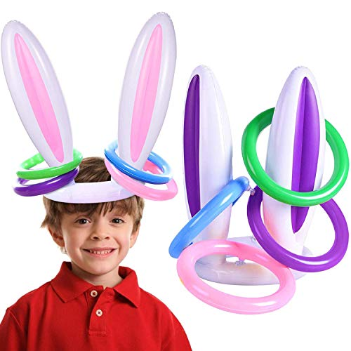 A-SZCXTOP 2 Pack Easter Inflatable Bunny Rabbit Ears Ring Toss Party Games (2 Set/8 Rings) Indoor Outdoor Rabbit Ears Ring Toss Toys Gift Party Favors for Kids Family Easter Party Supplies Carnival Game